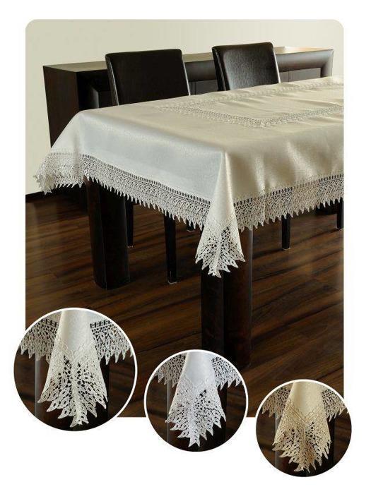 Obrus gipiura haft biały prostokąt 120-200